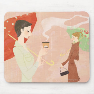 Woman Holding Coffee Mouse Mat