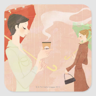 Woman Holding Coffee Square Sticker