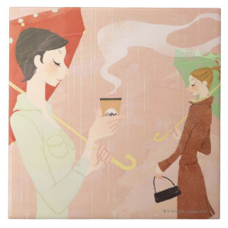 Woman Holding Coffee Tile