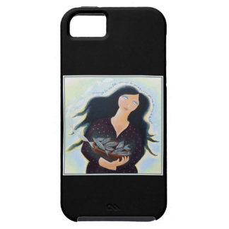 Woman Holding Fish in a Bowl. On Black. iPhone 5 Case