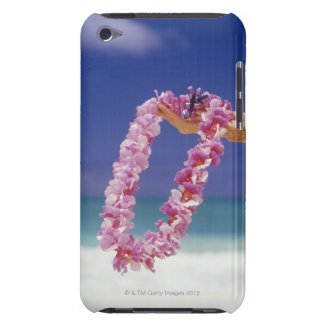 Woman holding Floral lei by beach, Close-up of iPod Case-Mate Case