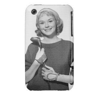 Woman Holding Golf Club iPhone 3 Covers