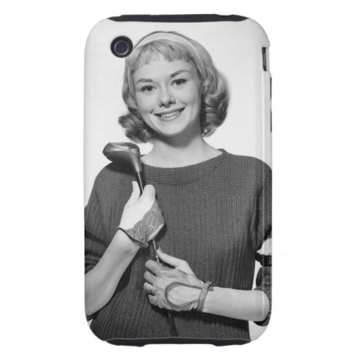 Woman Holding Golf Club iPhone 3 Tough Cases