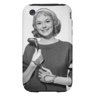 Woman Holding Golf Club iPhone 3 Tough Covers