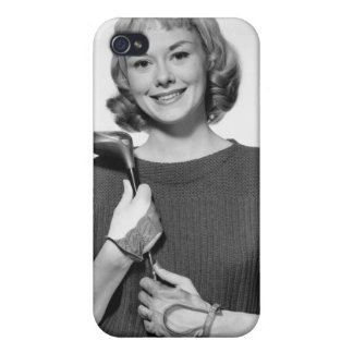 Woman Holding Golf Club iPhone 4/4S Covers