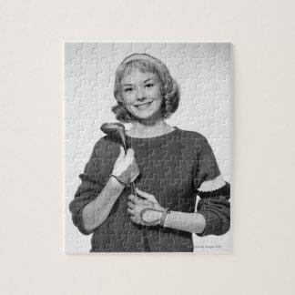 Woman Holding Golf Club Jigsaw Puzzle