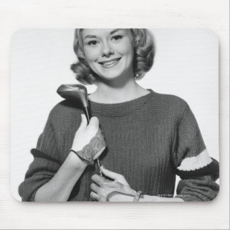 Woman Holding Golf Club Mouse Mat