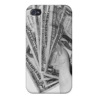 Woman Holding Money iPhone 4 Cases