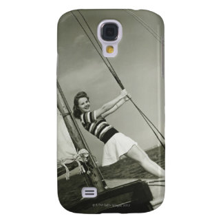 Woman Holding Rigging on Yacht Galaxy S4 Case