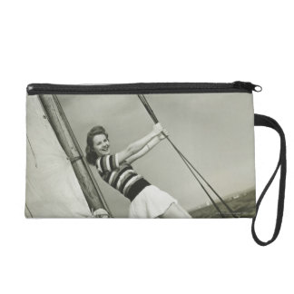 Woman Holding Rigging on Yacht Wristlet
