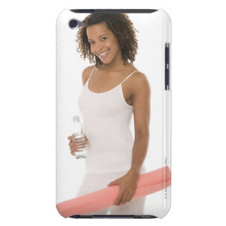 Woman holding water bottle and exercise mat barely there iPod covers
