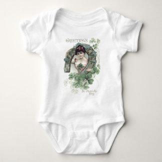 Woman Horseshoe Shamrock Forget-Me-Not Baby Bodysuit