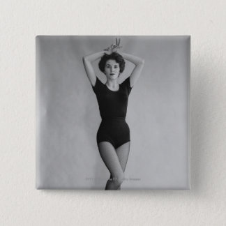 Woman in a ballet leotard portrait 15 cm square badge