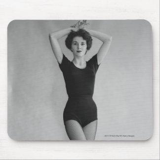 Woman in a ballet leotard portrait mouse mat