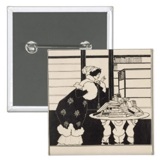 Woman in a Bookshop, design for a 'Yellow Book' co 15 Cm Square Badge