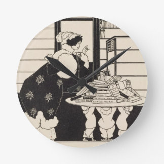 Woman in a Bookshop design for a Yellow Book co Round Clock