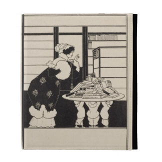 Woman in a Bookshop, design for a 'Yellow Book' co iPad Folio Cases