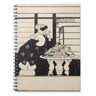 Woman in a Bookshop design for a Yellow Book co Spiral Notebook