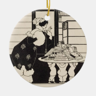 Woman in a Bookshop, design for a 'Yellow Book' co Round Ceramic Decoration