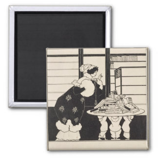 Woman in a Bookshop, design for a 'Yellow Book' co Square Magnet