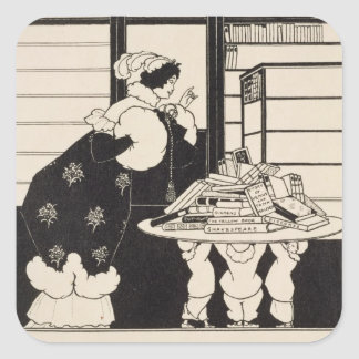 Woman in a Bookshop, design for a 'Yellow Book' co Square Stickers