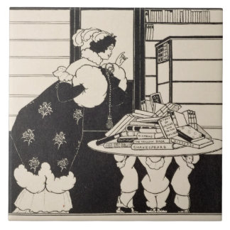 Woman in a Bookshop, design for a 'Yellow Book' co Tile