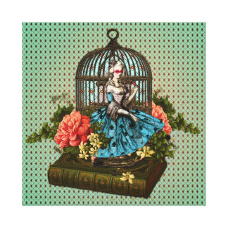 Woman in a Cage Collage Canvas Print