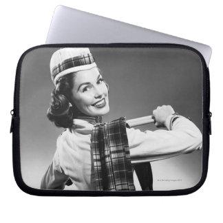 Woman in a Cap Laptop Sleeve