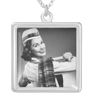 Woman in a Cap Silver Plated Necklace