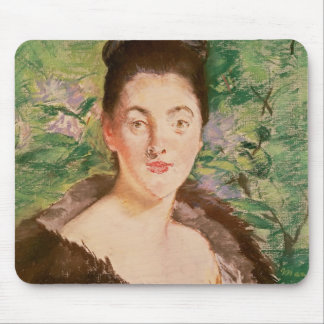 Woman in a fur coat mouse pad