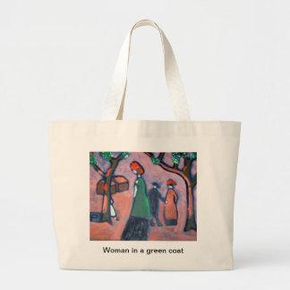 Woman in a green coat jumbo tote bag