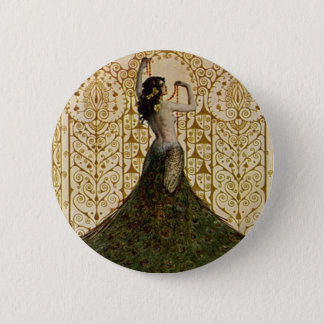 Woman in a Peacock Skirt 6 Cm Round Badge