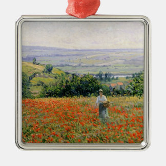 Woman in a Poppy Field Christmas Ornament