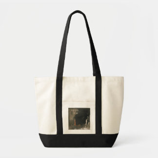 Woman in a red dress (w/c on paper) tote bag