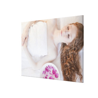 Woman in bed canvas print