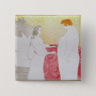 Woman in Bed, Profile - Waking Up, 1896 15 Cm Square Badge