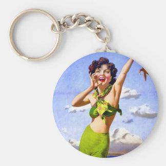Woman in bikini keychain