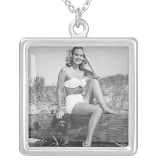 Woman in Bikini Silver Plated Necklace