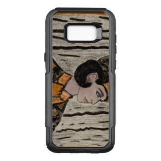 Woman in black and orange OtterBox commuter samsung galaxy s8+ case