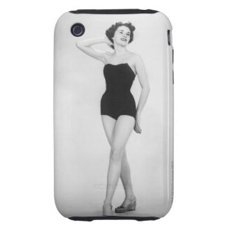 Woman in Black Corset Tough iPhone 3 Covers