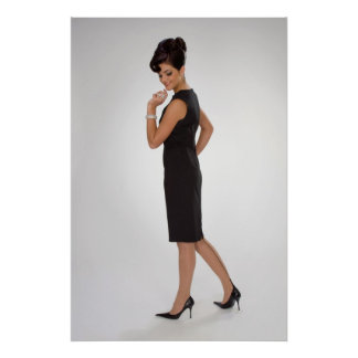 Woman in black dress poster