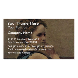 Woman In Blue Detail By Corot Jean-Baptiste-Camill Business Card