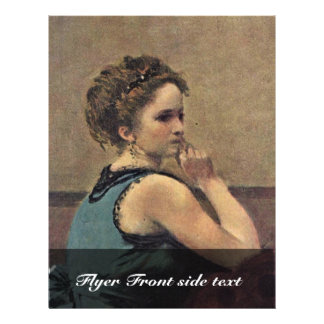 Woman In Blue Detail By Corot Jean-Baptiste-Camill Flyer Design
