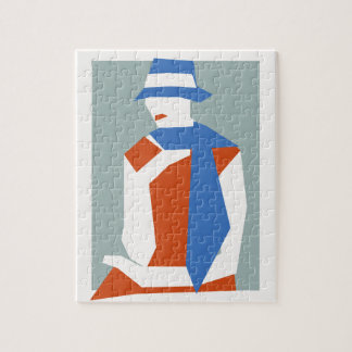 Woman In Blue Hat Jigsaw Puzzle