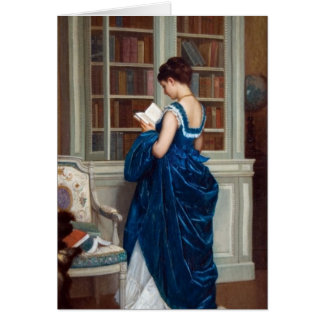 Woman in Blue, reading a Book Card