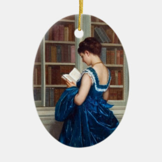 Woman in Blue, reading a Book Christmas Ornament