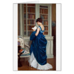 Woman in Blue, reading a Book Greeting Card
