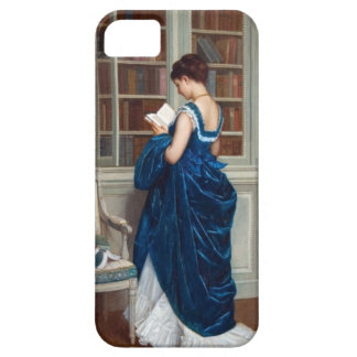 Woman in Blue, reading a Book iPhone 5 Cases