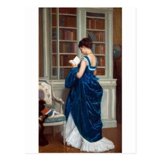Woman in Blue, reading a Book Postcard