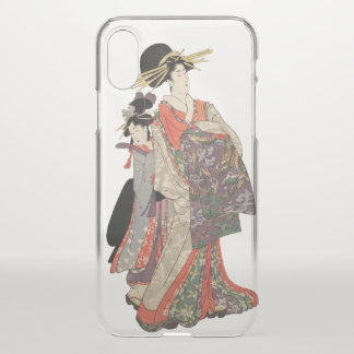 Woman in colorful kimono (Vintage Japanese print) iPhone X Case